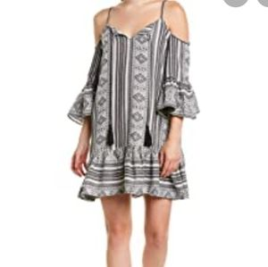 Elan Cold Shoulder Aztec Tassel Ruffle Dress